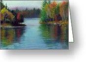 Lakes Pastels Greeting Cards - Between Two Islands Greeting Card by Marcus Moller