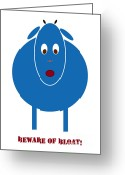 White Drawings Greeting Cards - Beware of Bloat Greeting Card by Frank Tschakert