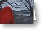 Bare Trees Painting Greeting Cards - Beware Greeting Card by Tree Girly