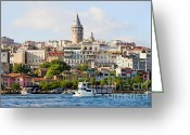 Beyoglu Greeting Cards - Beyoglu District in Istanbul Greeting Card by Artur Bogacki