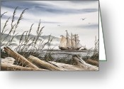 Shores Painting Greeting Cards - Beyond Driftwood Shores Greeting Card by James Williamson