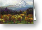 Landscape Painter Greeting Cards - Beyond the Orchards Greeting Card by Talya Johnson