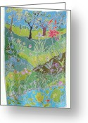 Water Lilly Tapestries - Textiles Greeting Cards - Beyond The Pond Greeting Card by Rollin Kocsis