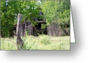 Barbed Wire Fences Photo Greeting Cards - Beyond the Post Greeting Card by Lisa Moore