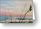 Sunset Scenes. Painting Greeting Cards - Beyond The Sand Greeting Card by Hanne Lore Koehler