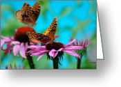 Echinacea Greeting Cards - BFF Best Friend Flutterbyes Greeting Card by Lois Bryan