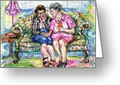 Gossiping Greeting Cards - BFFs II Greeting Card by Margaret Donat