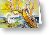 French Art Drawings Greeting Cards - Biarritz 04 Greeting Card by Miki De Goodaboom