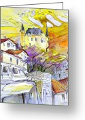 French Art Drawings Greeting Cards - Biarritz 05 Greeting Card by Miki De Goodaboom