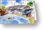 French Art Drawings Greeting Cards - Biarritz 07 Greeting Card by Miki De Goodaboom