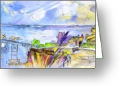 French Art Drawings Greeting Cards - Biarritz 09 Greeting Card by Miki De Goodaboom