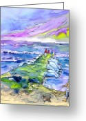French Art Drawings Greeting Cards - Biarritz 20 Greeting Card by Miki De Goodaboom