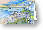French Art Drawings Greeting Cards - Biarritz 26 Greeting Card by Miki De Goodaboom