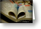 Sanctified Greeting Cards - Bible Heart Scripture Art 2 Timothy 2 Greeting Card by Cindy Wright