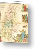 Old Map Drawings Greeting Cards - Biblical Map Palestine Greeting Card by Pg Reproductions