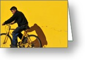 Skiphunt Greeting Cards - Bicicleta Amarilla Greeting Card by Skip Hunt