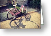 Bicycle Greeting Cards - Bicycle And Its Shadow. #bicycle Greeting Card by Angela Song