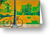 Chained Greeting Cards - Bicycle And Mural Greeting Card by Steven Ainsworth