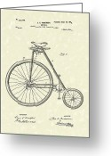 Antique Artwork Greeting Cards - Bicycle Anderson 1899 Patent Art Greeting Card by Prior Art Design