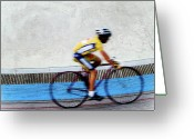Runner Greeting Cards - Bicycle Blur Greeting Card by Jim DeLillo