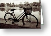 Basket Greeting Cards - Bicycle by the Lake Greeting Card by David Bowman