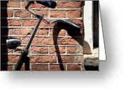 Bricks Greeting Cards - Bicycle Greeting Card by David Bowman