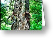 Bicycle Greeting Cards - Bicycle-eating tree Greeting Card by T Catonpremise