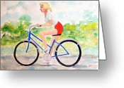Girl On Bike Greeting Cards - Bicycle Greeting Card by Fred Jinkins