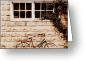 Cottage Chic Greeting Cards - Bicycle Greeting Card by Julie Hamilton