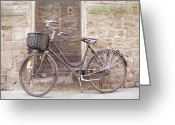 Exterior Buildings Greeting Cards - Bicycle Leaning Against A Stone Wall Greeting Card by Gina Martin