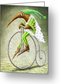 Fantasy Creatures Greeting Cards - Bicycle Greeting Card by Lolita Bronzini