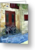 Madeline Ellis Greeting Cards - Bicycle Of Santorini Greeting Card by Madeline Ellis