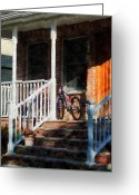 Suburbs Greeting Cards - Bicycle on Porch Greeting Card by Susan Savad