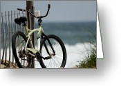 Gallery Print Greeting Cards - Bicycle on the Beach Greeting Card by Julie Niemela