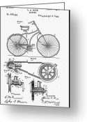 Biking Greeting Cards - Bicycle Patent 1890 Greeting Card by Bill Cannon