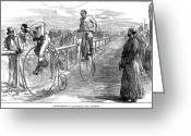 Penny Farthing Greeting Cards - Bicycle Race, 1875 Greeting Card by Granger