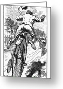 Penny Farthing Greeting Cards - Bicycle Race Accident, 1880 Greeting Card by Granger