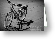 Old Bike Greeting Cards - Bicycle Shadow Greeting Card by Perry Webster