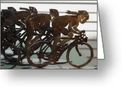 Male Sculpture Greeting Cards - Bicycle Trophies Greeting Card by Steve Mudge