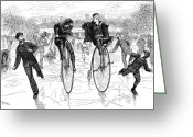 Penny Farthing Greeting Cards - Bicycles On Ice, 1881 Greeting Card by Granger