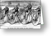 Penny Farthing Greeting Cards - Bicycling, 1873 Greeting Card by Granger
