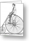 Penny Farthing Greeting Cards - Bicycling, 1880 Greeting Card by Granger