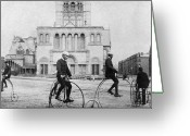 Penny Farthing Greeting Cards - BICYCLING, 1880s Greeting Card by Granger