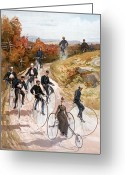 Penny Farthing Greeting Cards - Bicycling, 1887 Greeting Card by Granger