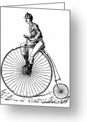 Penny Farthing Greeting Cards - BICYCLING, c1890 Greeting Card by Granger