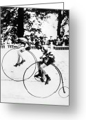 Penny Farthing Greeting Cards - BICYCLING RACE, c1890 Greeting Card by Granger