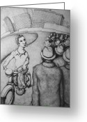 Workers Drawings Greeting Cards - Bicyclist Greeting Card by Louis Gleason