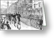 Penny Farthing Greeting Cards - Bicyclist Meeting, 1881 Greeting Card by Granger