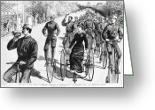 High Wheel Greeting Cards - Bicyclist Meeting, 1884 Greeting Card by Granger