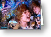 Grammy Greeting Cards - Bieber Fever Tribute to Justin Bieber Greeting Card by Alex Martoni